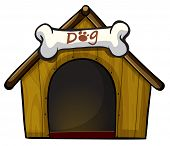 Illustration of a dog house with a bone on a white background