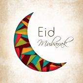 Beautiful illustration for Muslim community festival Eid Mubarak with hanging moon and stars.