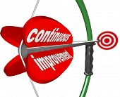 The words Continuous Improvement on an arrow airmed by a bow at a target to illustrate constant increase in quality, skill, knowledge or success