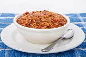 Red Beans And Rice In White Bowl With Spoon
