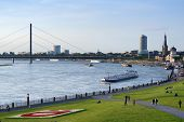 DUSSELDORF, GERMANY - JUNE 29: Barges on the Rhine river in Dusseldorf, Germany on June 29, 2013. Rh