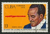 CUBA - CIRCA 1974: A stamp printed in Cuba shows image of the flutist Roberto Ondina, circa 1974.