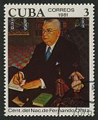 CUBA - CIRCA 1981: A stamp printed in Cuba shows image of the Fernando Ortiz Fernandez was a Cuban essayist, anthropologist, ethnomusicologist and scholar of Afro-Cuban culture, circa 1981.