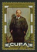 CUBA - CIRCA 1974: A stamp printed in Cuba shows image of the Vladimir Ilyich Lenin; born Vladimir Ilyich Ulyanov, was a Russian communist revolutionary, politician and political theorist, circa 1974.