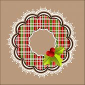 Plaid Christmas wreath with white frill border