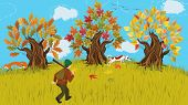 Autumn cartoon landscape with trees and huntsman walking shooting with his dog