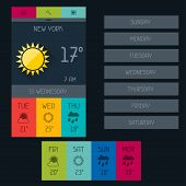 Weather widget in flat design style.
