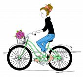 pretty girl and bicycle