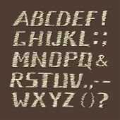 image of semi-colon  - Handwritten Chalk Alphabet on Brown  Background - JPG