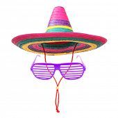picture of rastafari  - A colorful mexican sombrero with party goggles on a white background - JPG