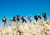 image of crimea  - Hikers group trekking in Crimea mountains - JPG