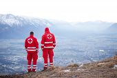 Red Cross Helper In The Mountain