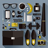 Modern Businessman Essentials. Flat Design Elements With Long Shadow. Vector Illustration