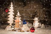 stock photo of midget  - Concept Christmas Tree decoration wine cork figures - JPG