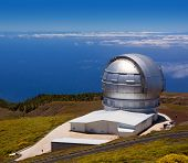 LA PALMA, CANARY ISLANDS, SPAIN - JULY 12, 2012: GTC Gran Telescopio de Canarias in a sunny day blue