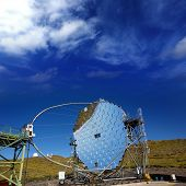 LA PALMA, CANARY ISLANDS, SPAIN - JULY 12, 2012: Magic telescope at ORM observatory at Roque de los Muchachos in La Palma, Canary, Spain, July 12, 2012. Is a gamma-ray high sensivity astronomy mirror.