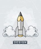 Creative design concept with pencil tool as starting rocket. Eps10 vector illustration. Isolated on white background