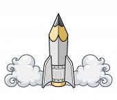 Creative concept pencil as rocket. Eps10 vector illustration. Isolated on white background