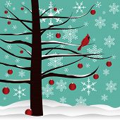 image of christmas cards  - Christmas tree background designed with red Cardinal - JPG
