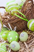 Colourful Green Easter Eggs In Straw