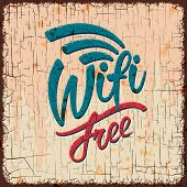 Vintage sign with Free wifi symbol