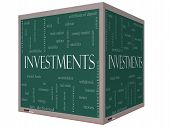 Investments Word Cloud Concept On A 3D Cube Blackboard
