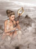 foto of elf  - lady Elf on a background of mountains and the castle - JPG