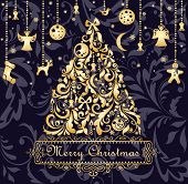 pic of tree trim  - Christmas card with gold xmas tree - JPG