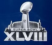 Super Bowl XLVIII  logo presented on Broadway at Super Bowl XLVIII week in Manhattan