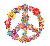 stock photo of hippy  - Colorful peace flower symbol - JPG