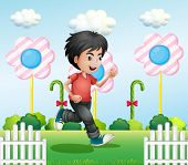 Illustration of a young gentleman running