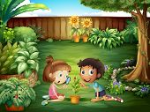 Illustration of the two adorable kids studying the ladybug at the yard