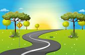 stock photo of long winding road  - Illustration of a long and winding road at the forest - JPG