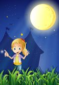 Illustration of a girl under the bright fullmoon