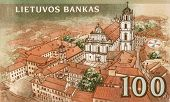 LITHUANIA - CIRCA 2007: Vilnius old town on 100 Litu 2007 banknote from Lithuania.