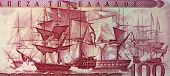 GREECE - CIRCA 1955: Battle of Navarino on 100 Drachmai 1955 Banknote from Greece. Naval battle foug