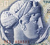 GREECE - CIRCA 1964: Arethusa on 50 Drachmai 1964 Banknote from Greece. Nereid nymph who became a fo