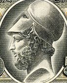GREECE - CIRCA 1955: Pericles (495-429 BC) on 50 Drachmai 1955 Banknote from Greece. Most prominent