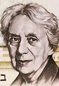 ISRAEL - CIRCA 1973: Henrietta Szold (1860-1945) on 5 Lirot 1973 Banknote from Israel. U.S. Jewish Zionist leader and founder of the Hadassah Women's Organization.