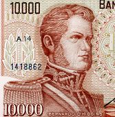 CHILE - CIRCA 1970: Bernardo O'Higgins (1778-1842) on 10000 Escudos 1970 from Chile. Chilean indepen