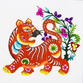 tiger, color paper cutting. Chinese Zodiac.