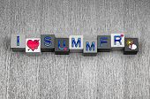 I Love Summer, Sign For Holidays, Vacation And Hot Weather.