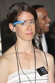 LOS ANGELES - SEP 22: Margo Rowder wears google glass in the press room during the 65th Annual Prime