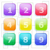 3D Set Of Transparent Colored Buttons With Numbers 1 - 9