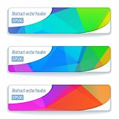 Website colorful header or banner set of modern triangle pattern with bright bokeh