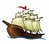 stock photo of galleon  - Pirate Ship vector illustration  - JPG