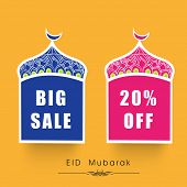 Offer and discount sale tags for the festival of Eid Mubarak.