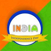 Stylish sticker, tag or label with colorful text India with yellow ribbon on national tricolors back