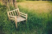 Bamboo Wooden Chairs On Grass Vintage