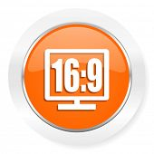 16 9 display orange computer icon